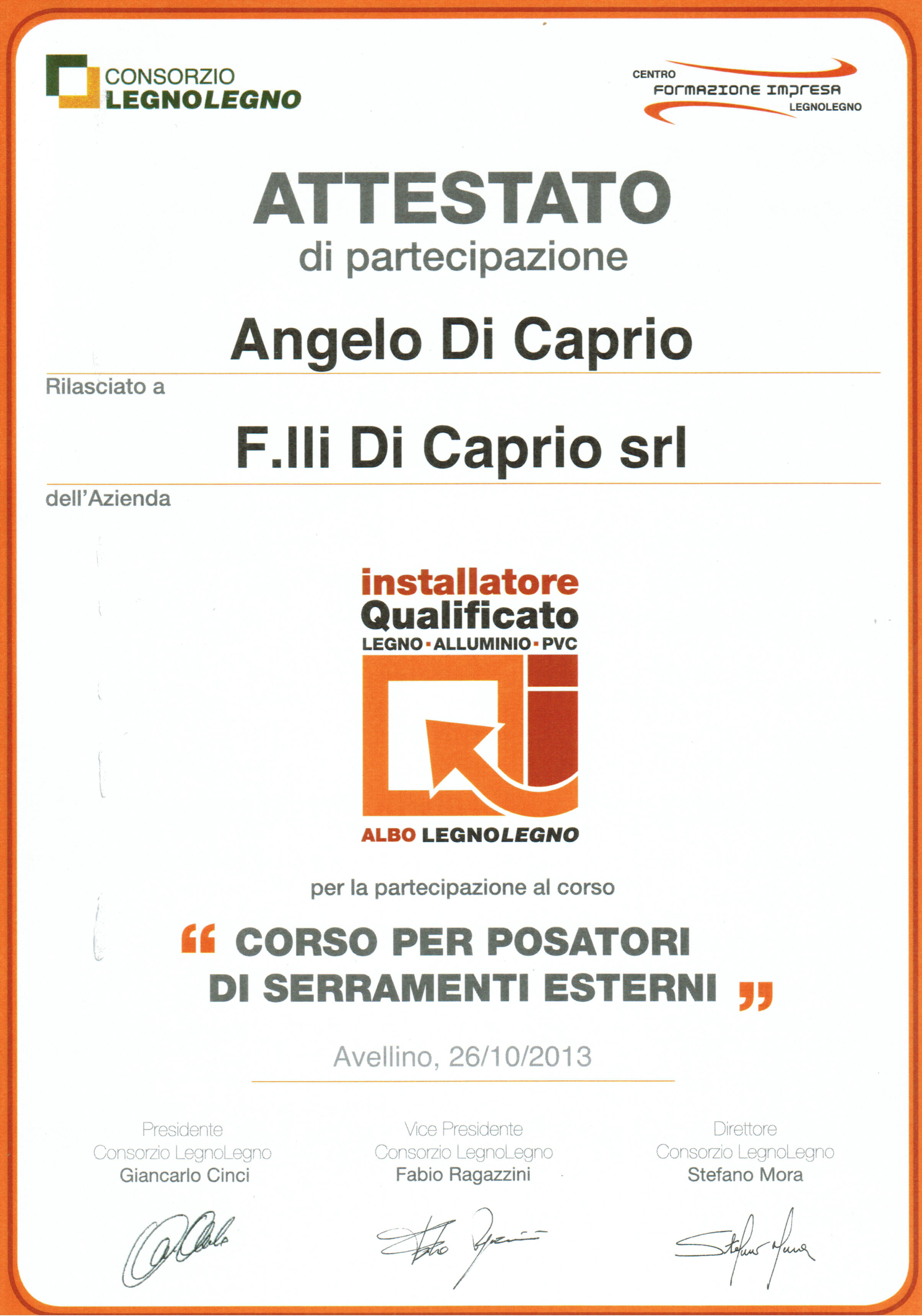 ATTESTATO ANGELO
